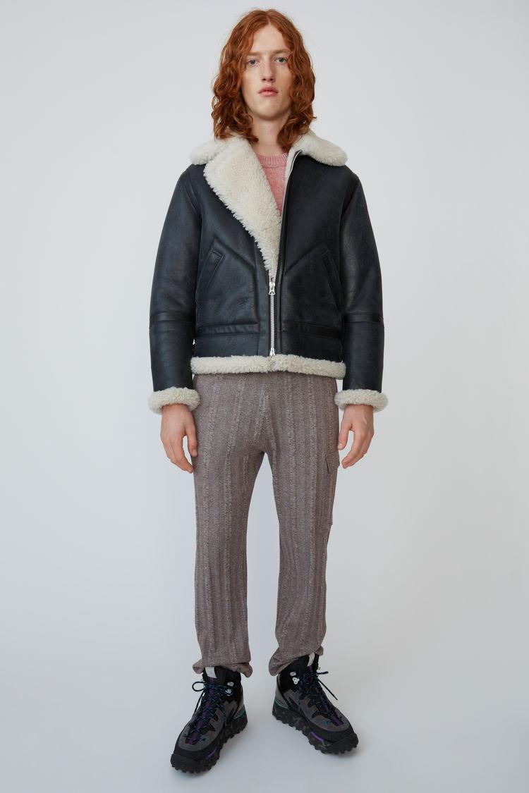 아크네 스튜디오 Acne Studios Shearling aviator jacket anthracite/white