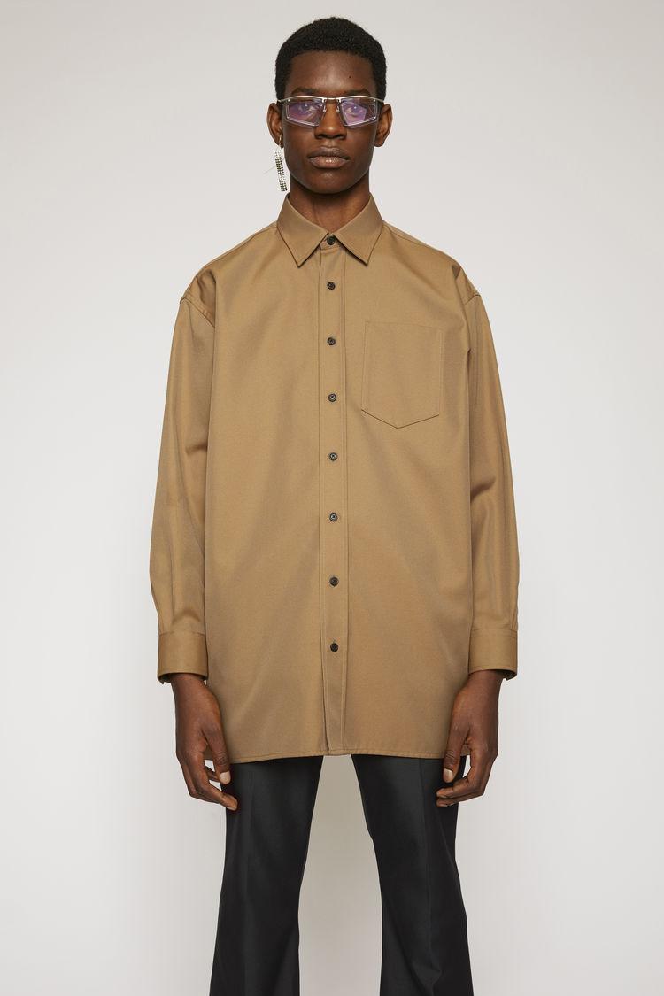 아크네 스튜디오 Acne Studios Oversized cotton-blend shirt mushroom beige