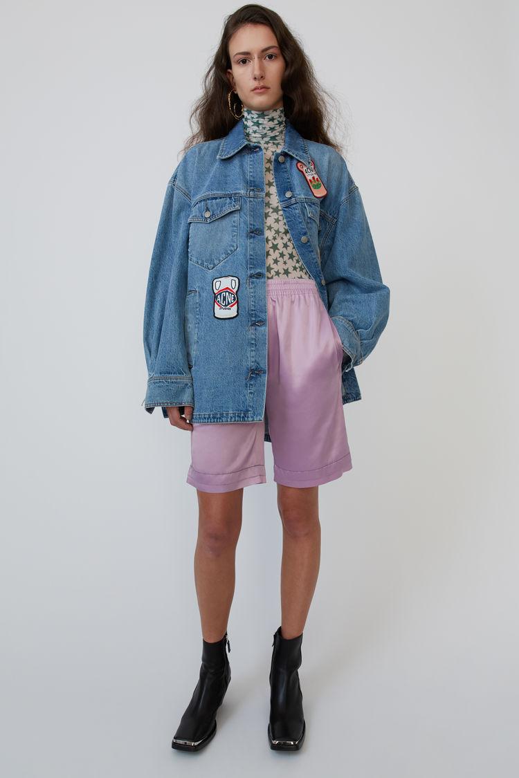 아크네 스튜디오 반바지 Acne Studios Satin shorts light lilac purple