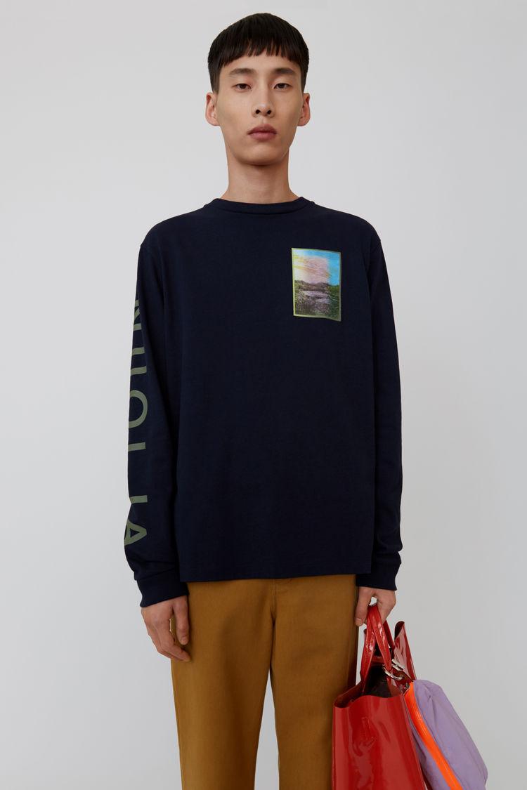 Acne Studios - Langärmliges T-Shirt mit Print Marineblau - 1