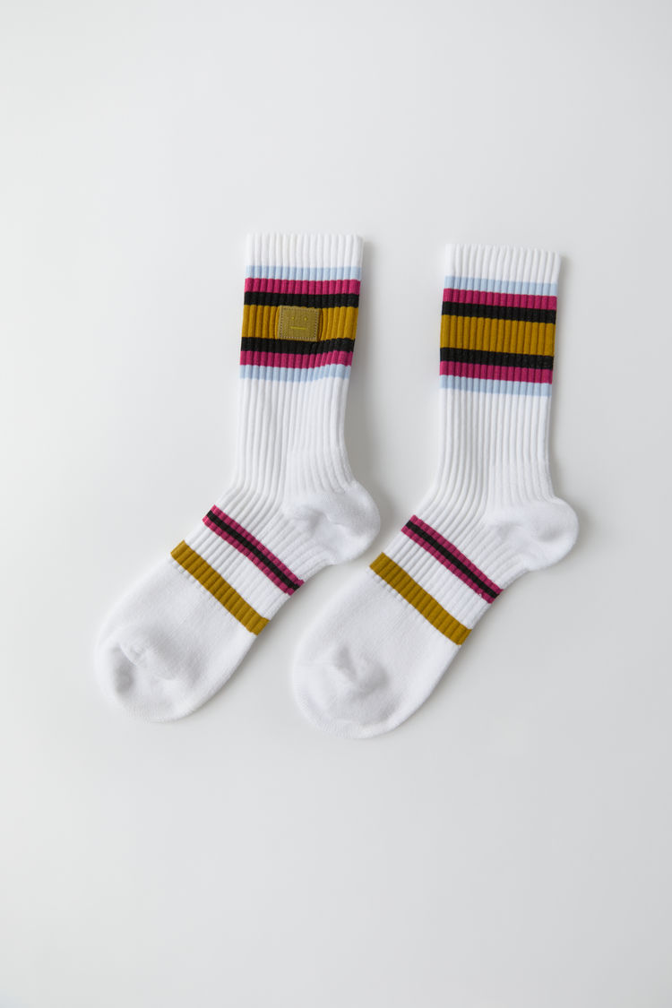 아크네 스튜디오 Acne Studios Striped socks white multicolor