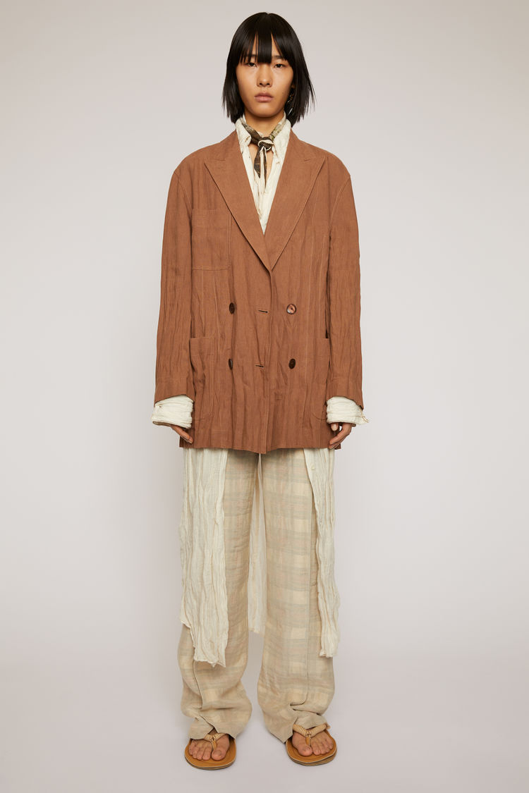 아크네 스튜디오 Acne Studios Double-breasted linen jacket mink brown