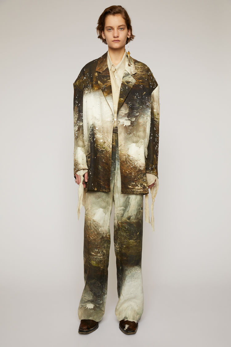 아크네 스튜디오 Acne Studios Embellished landscape-painting jacket brown/white