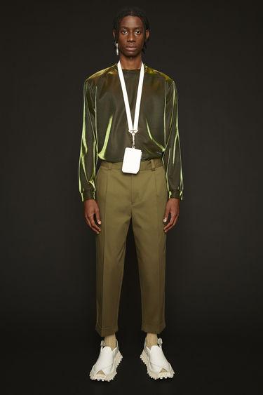 아크네 스튜디오 Acne Studios Cropped tapered-fit trousers olive green