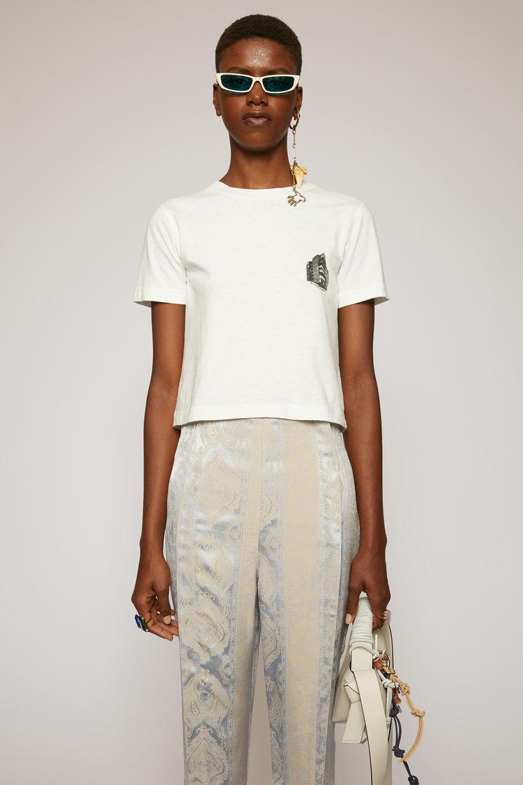 아크네 스튜디오 Acne Studios Headquarter-print cropped t-shirt optic white