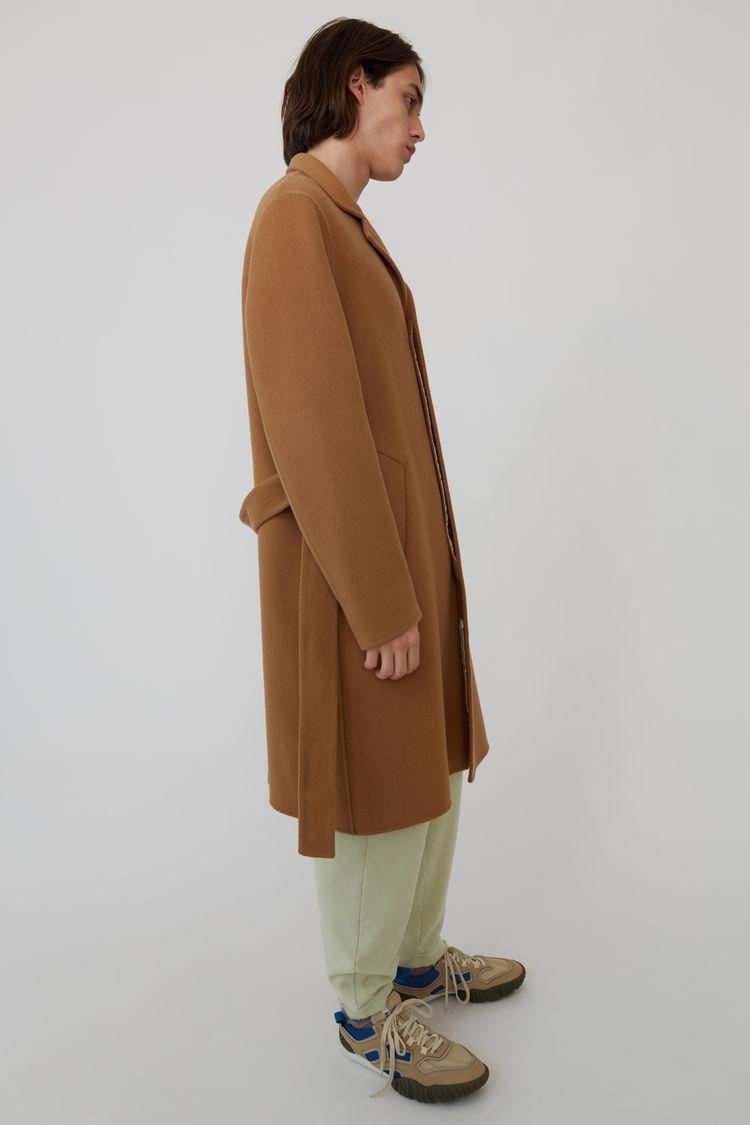 Acne Studios - Funnel neck coat Camel brown - 4
