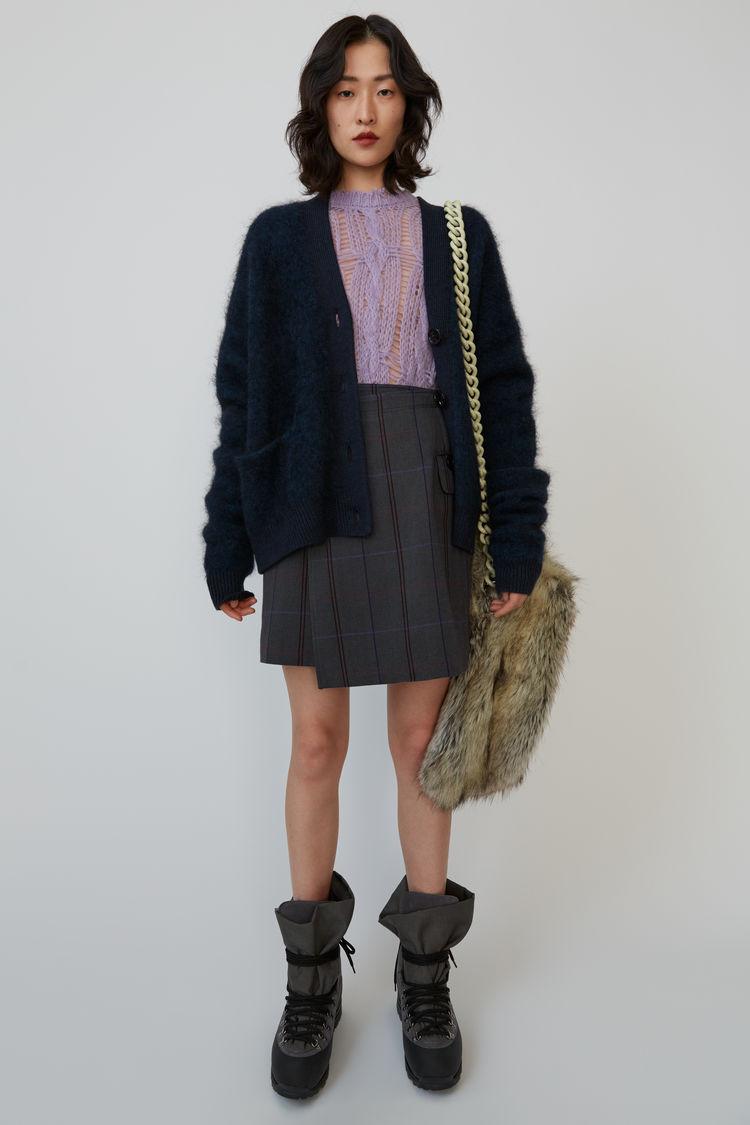 아크네 스튜디오 Acne Studios Herringbone-check wrap skirt grey/purple