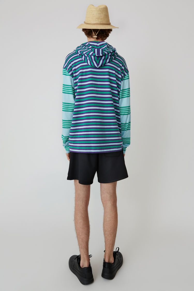 Acne Studios - Kapuzen-T-Shirt mit langem Arm Hellblau - 4