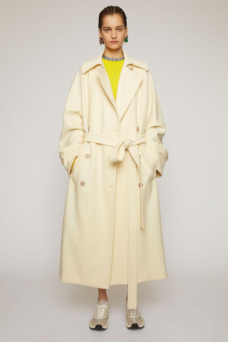 아크네 스튜디오 Acne Studios Wool-twill trench coat cream beige