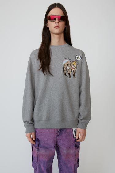 아크네 스튜디오 Acne Studios Animal-embroidered sweatshirt light grey melange