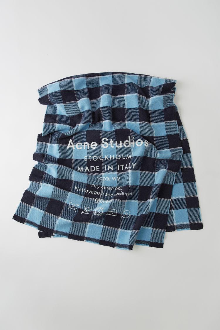 아크네 스튜디오 Acne Studios Checked logo scarf navy/dusty blue