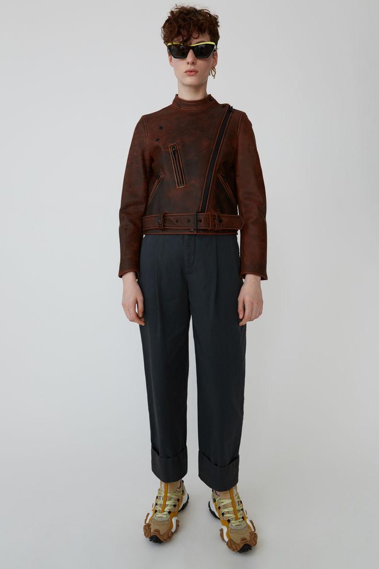 아크네 스튜디오 자켓 Acne Studios Aged motorcycle jacket black/brown