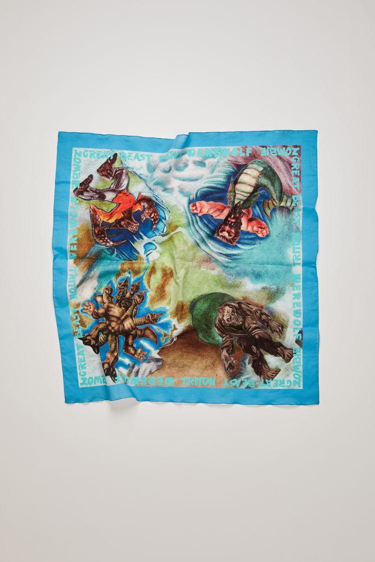 아크네 스튜디오 Acne Studios Monster-print scarf turquoise blue