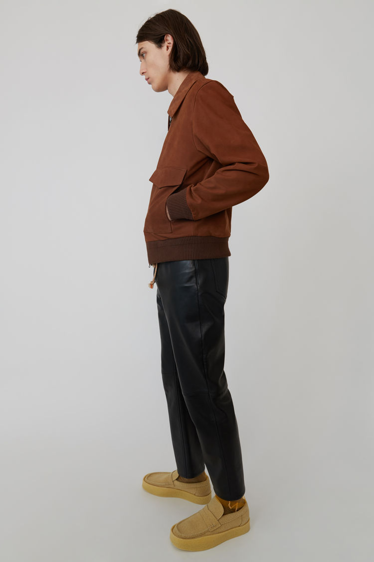 Acne Studios - Short leather jacket Cognac brown - 4