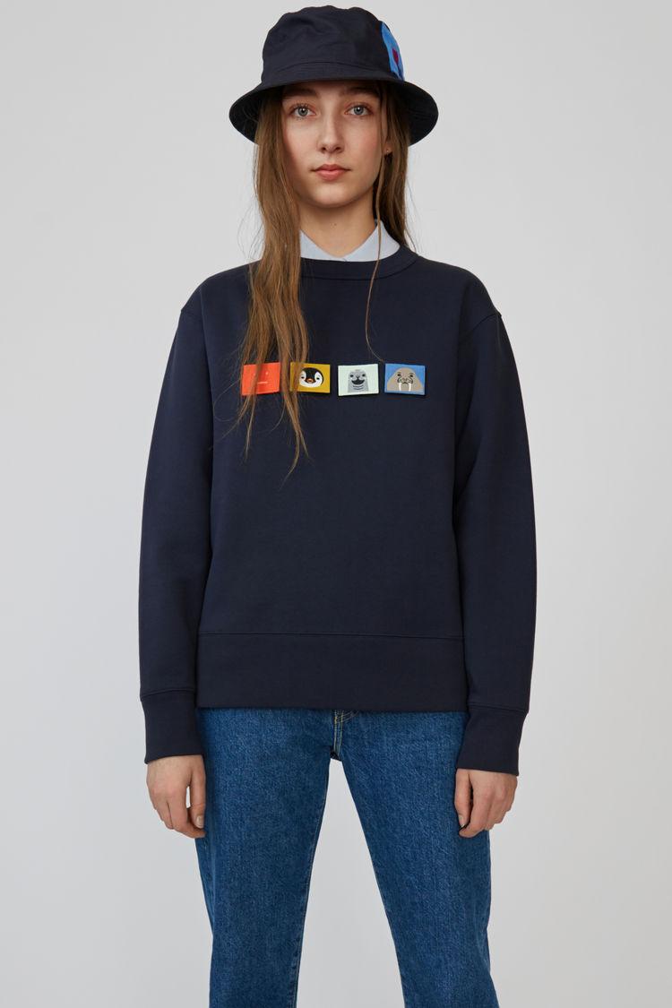 아크네 스튜디오 Acne Studios Regular fit sweatshirt navy blue