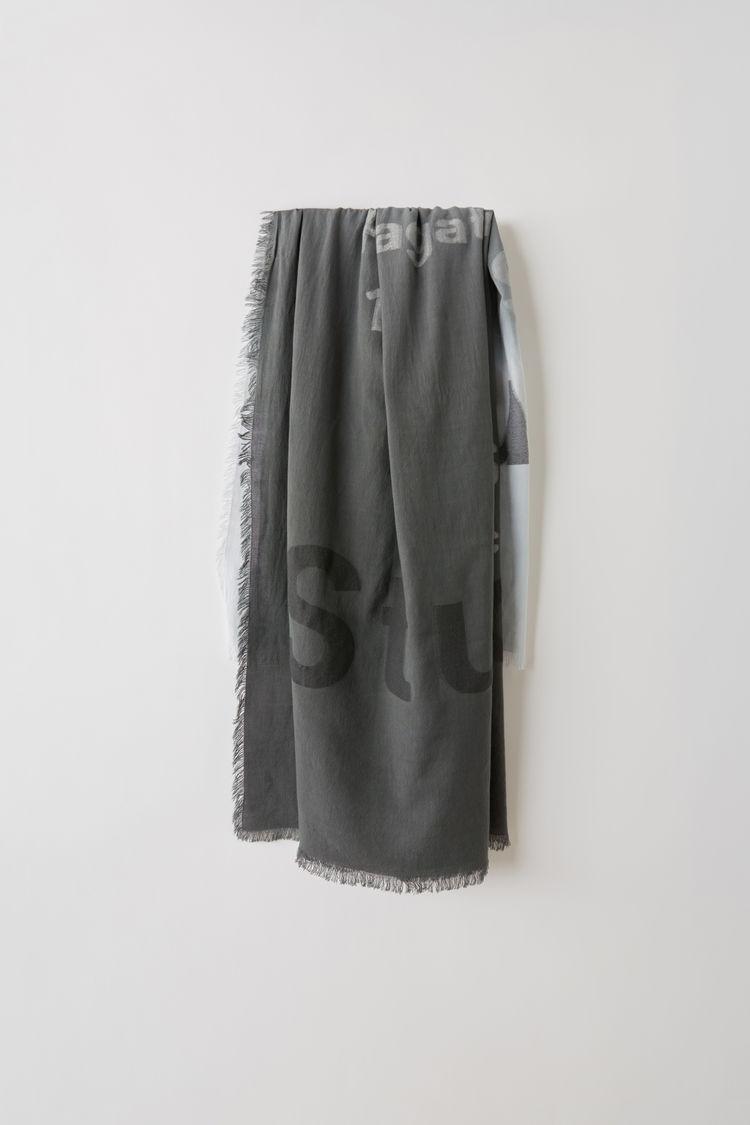 아크네 스튜디오 Acne Studios Logo scarf grey/white