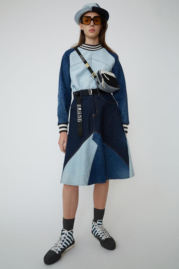 아크네 스튜디오 Acne Studios Patchwork denim skirt indigo blue
