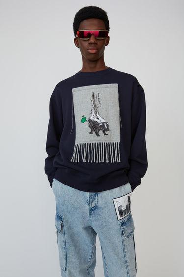 아크네 스튜디오 Acne Studios Scarf patch sweatshirt navy blue