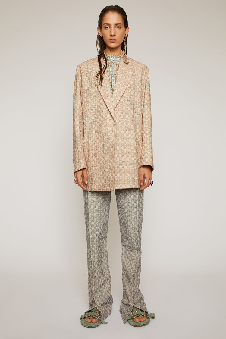 아크네 스튜디오 Acne Studios Floral-jacquard suit jacket peach orange