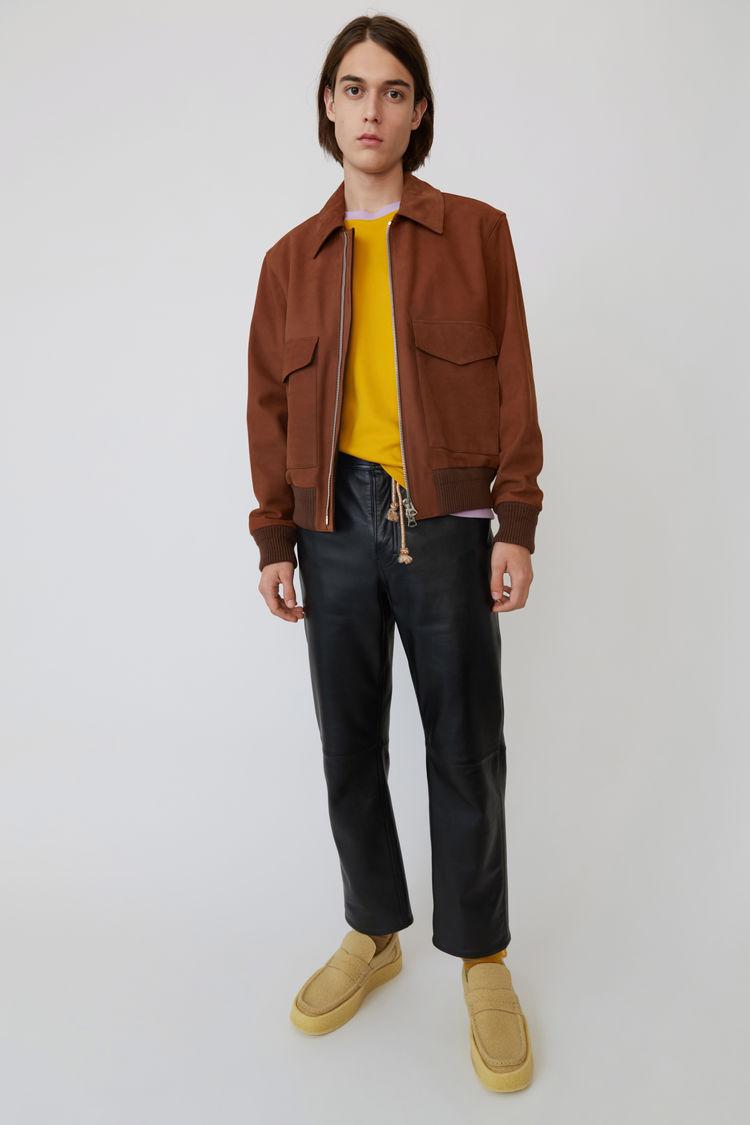 Acne Studios - Short leather jacket Cognac brown - 1