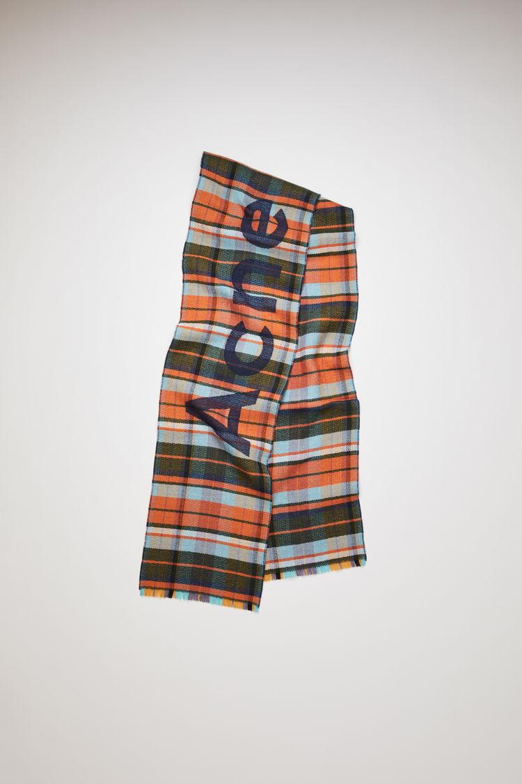 아크네 스튜디오 Acne Studios Skinny check scarf navy/orange