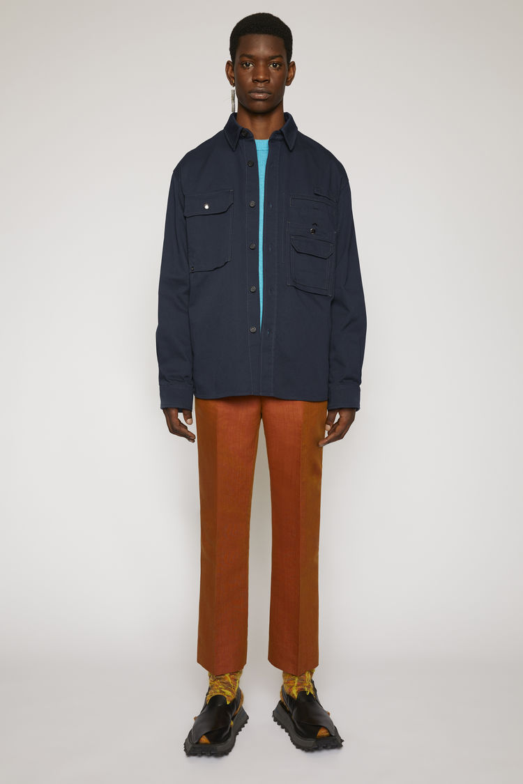 아크네 스튜디오 Acne Studios Cotton twill overshirt navy