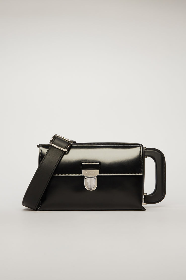 아크네 스튜디오 사첼백 미니 Acne Studios High-shine leather mini satchel black