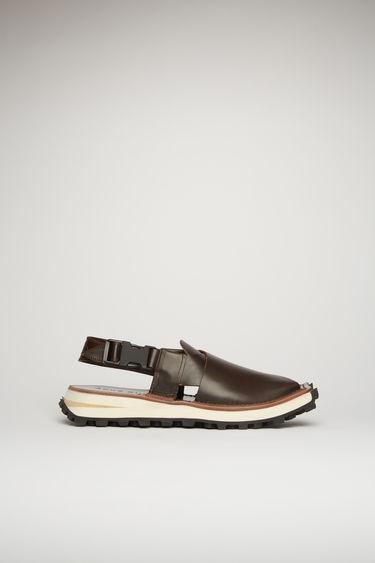 아크네 스튜디오 Acne Studios Crossover leather sandals brown/black