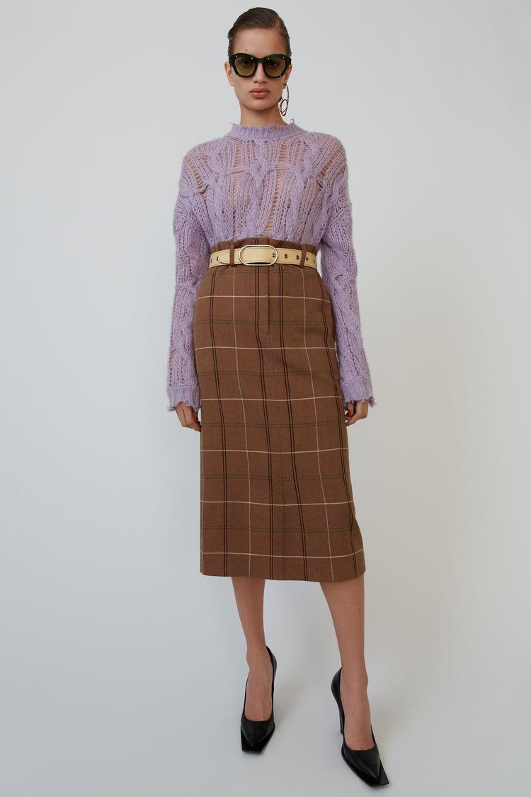 아크네 스튜디오 Acne Studios Herringbone check skirt brown/white