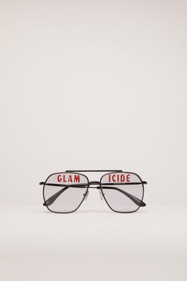 아크네 스튜디오 Acne Studios Magazine-print aviator sunglasses black satin/grey