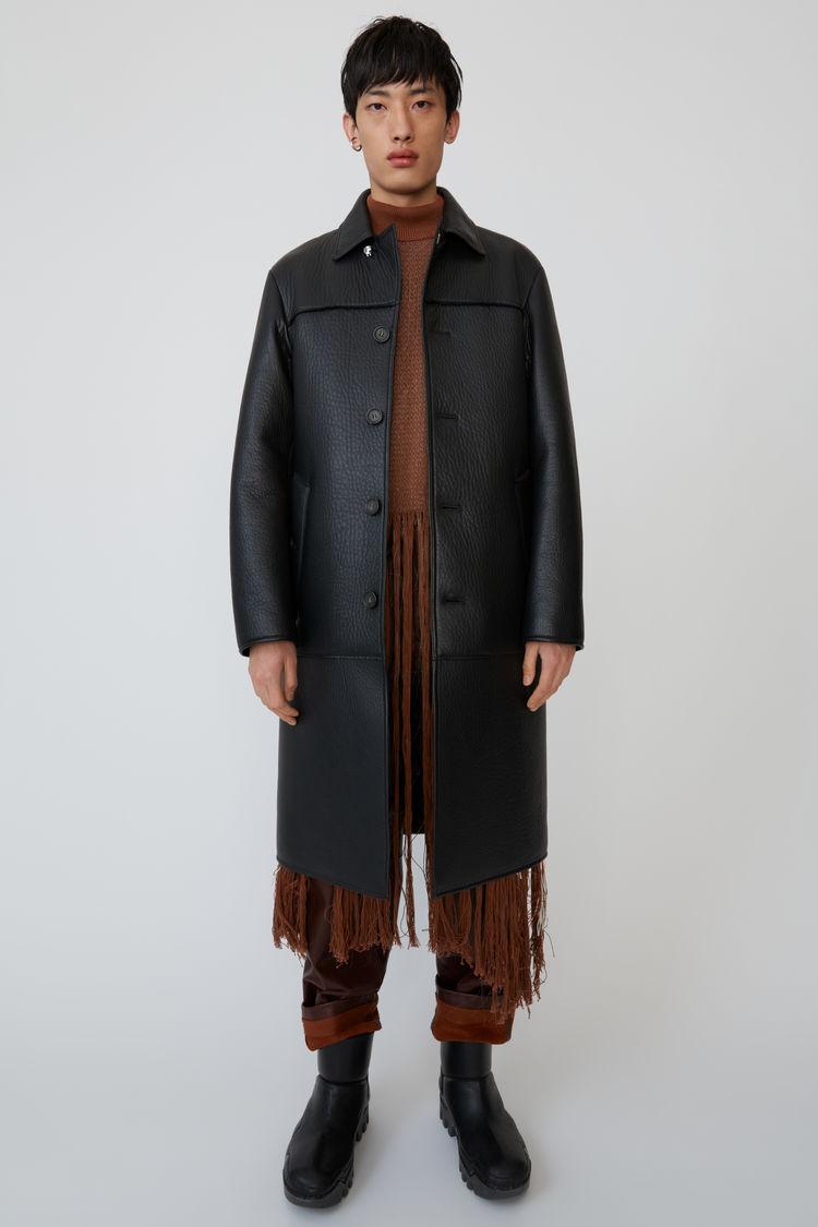 아크네 스튜디오 Acne Studios Textured leather coat black