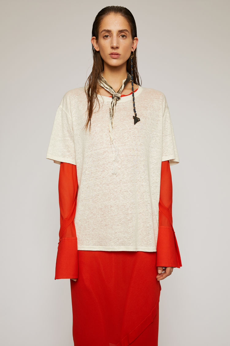 아크네 스튜디오 Acne Studios Linen t-shirt off white