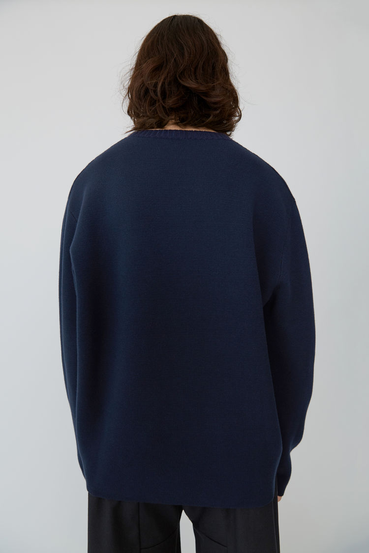Acne Studios - Relaxed fit pullover Navy blue - 3