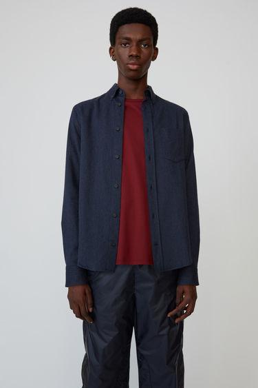 아크네 스튜디오 Acne Studios Classic fit shirt navy melange