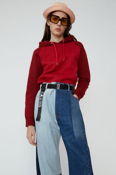 아크네 스튜디오 Acne Studios Two-tone hooded sweatshirt cardinal red