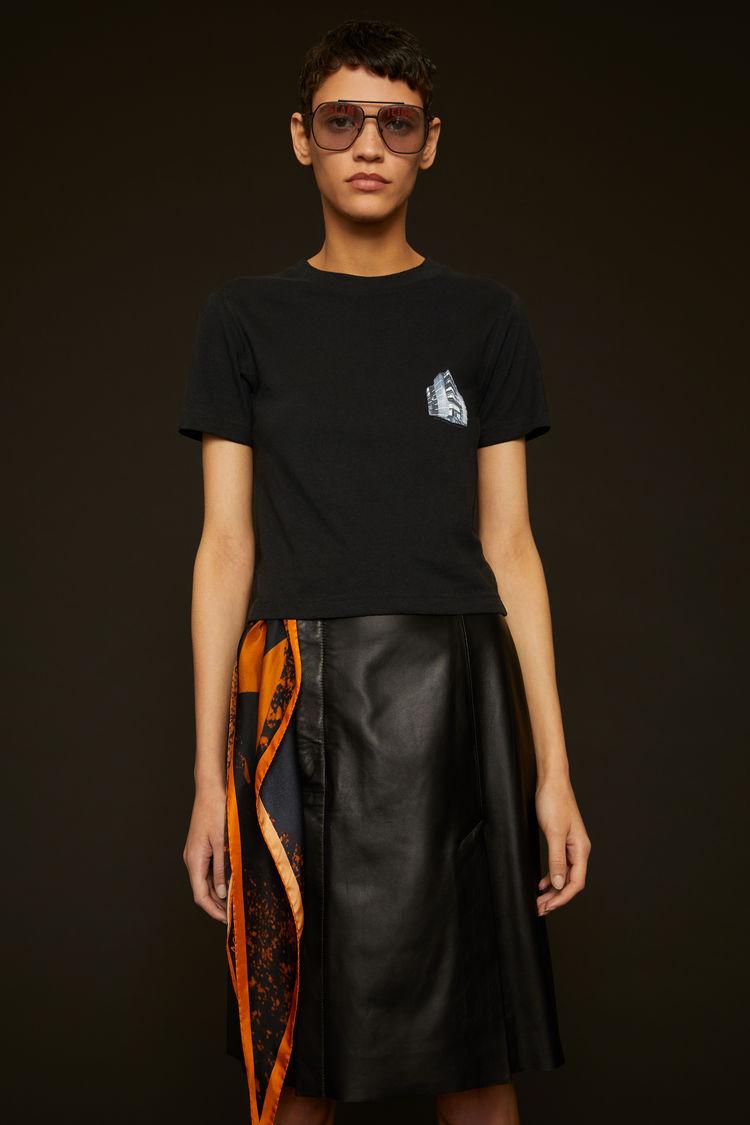 아크네 스튜디오 Acne Studios Headquarter-print cropped t-shirt black