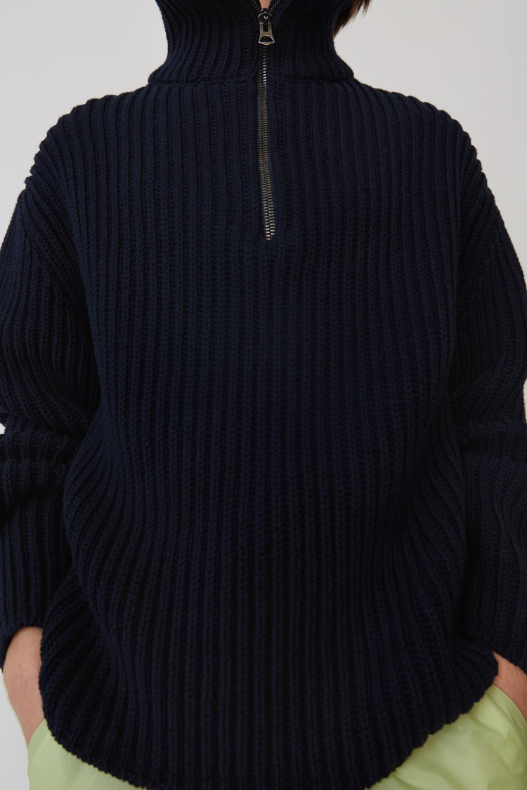 Acne Studios - Zippered polo sweater Navy blue - 5
