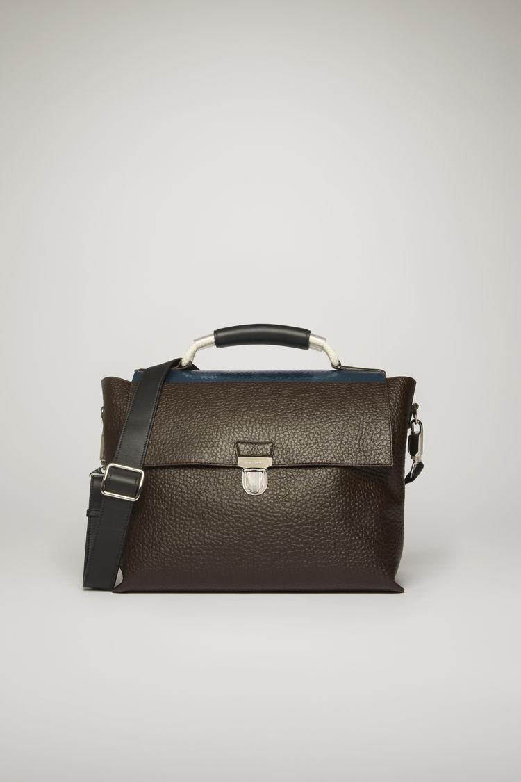 아크네 스튜디오 Acne Studios Grain leather satchel chocolate brown