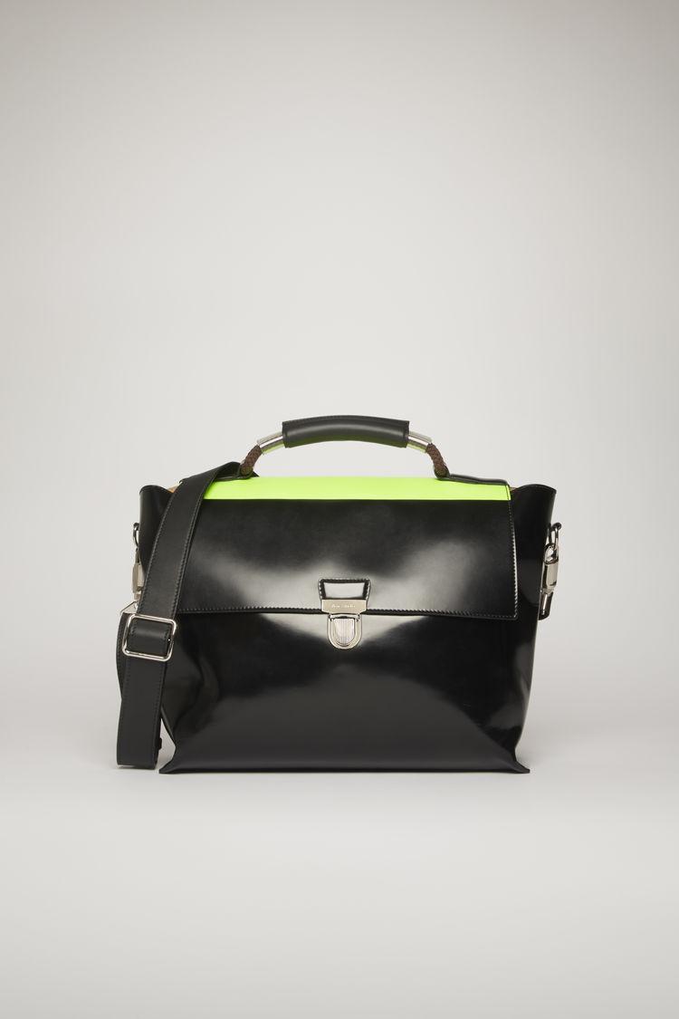 아크네 스튜디오 Acne Studios High-shine leather satchel black