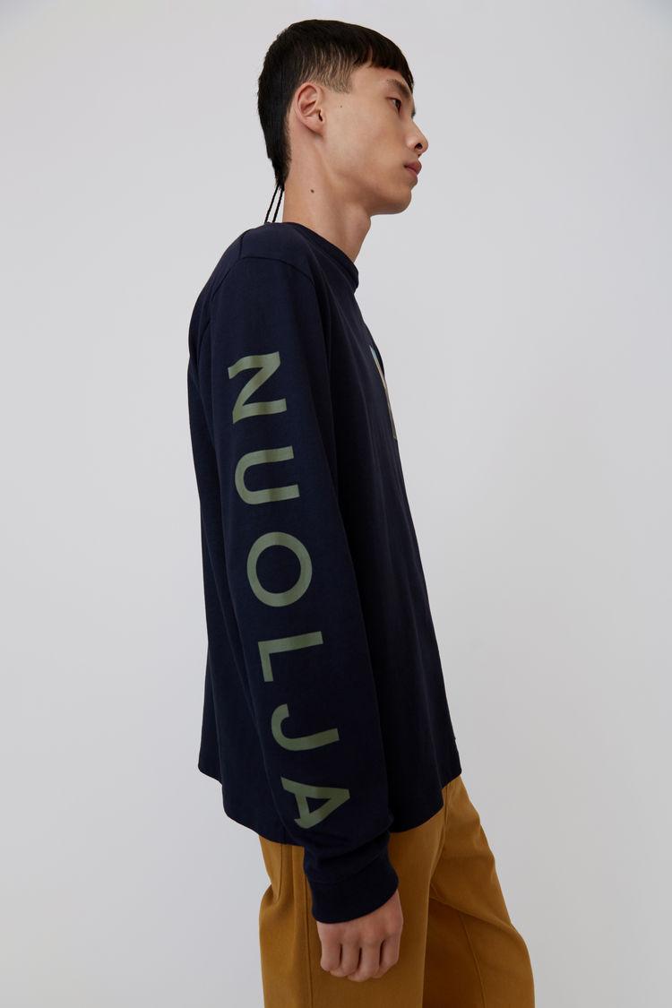 Acne Studios - Langärmliges T-Shirt mit Print Marineblau - 4