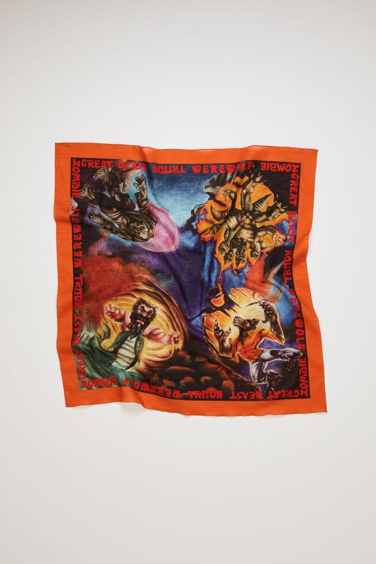 아크네 스튜디오 Acne Studios Monster-print scarf red