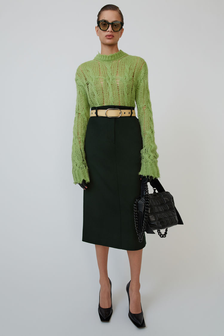 아크네 스튜디오 Acne Studios Paper-bag skirt deep green
