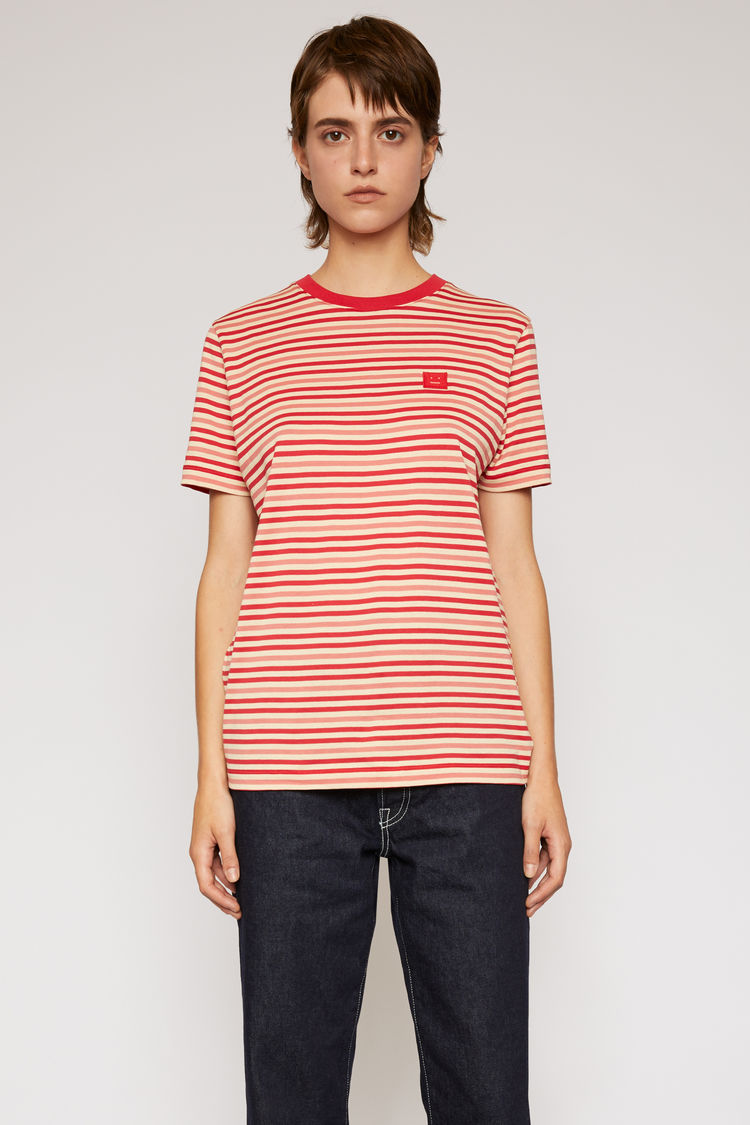 아크네 스튜디오 Acne Studios Breton-stripe t-shirt poppy red