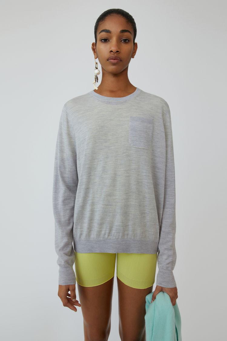 아크네 스튜디오 스웨터 Acne Studios Lightweight sweater pale grey melange