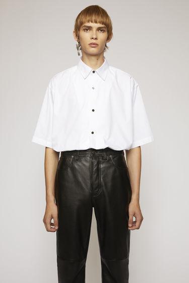 아크네 스튜디오 Acne Studios Short-sleeved cotton poplin shirt optic white