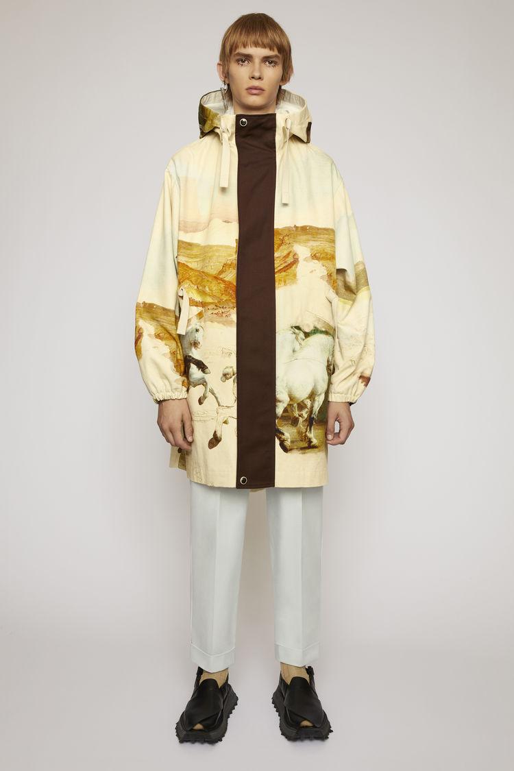아크네 스튜디오 Acne Studios Horse-print fishtail parka cream multi