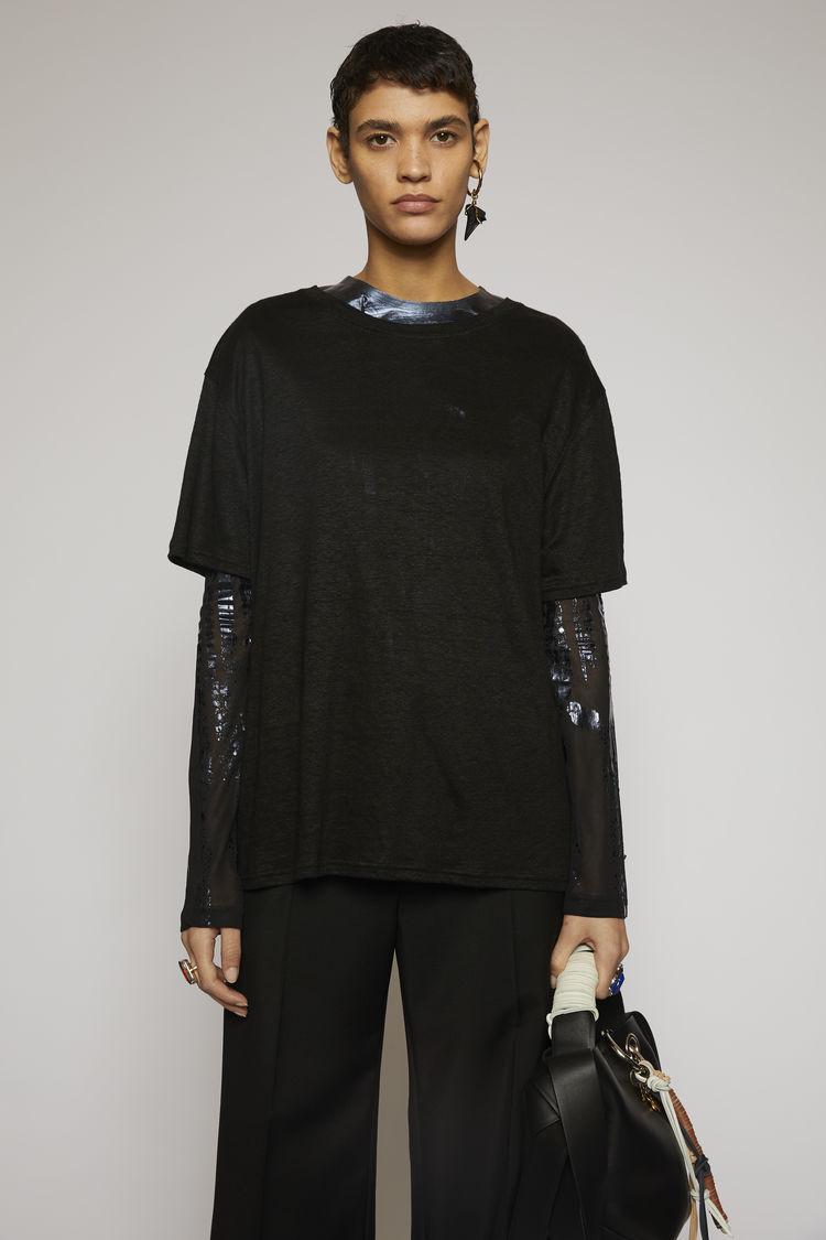 아크네 스튜디오 Acne Studios Linen t-shirt black