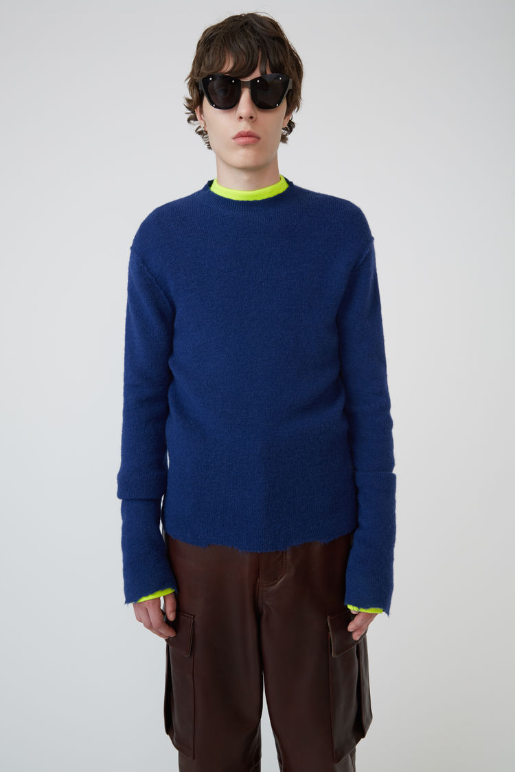 아크네 스튜디오 Acne Studios Raw-edged crewneck sweater midnight blue