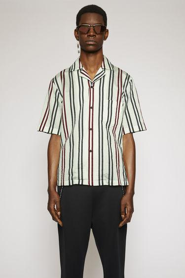 아크네 스튜디오 Acne Studios Striped cotton-blend shirt pastel green/burgundy