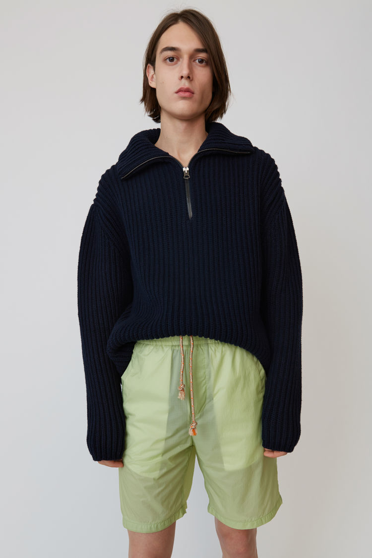 Acne Studios - Zippered polo sweater Navy blue - 1